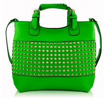 Kabelka Green Ladies Fashion Studded Tote Handbag - zelená