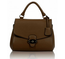 Kabelka Coffee Flap and Twist Lock Satchel