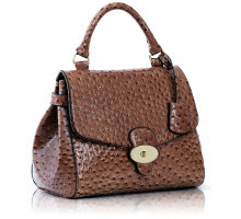 Kabelka Nude Ostrich Flap and Twist Lock Satchel