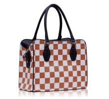 Kabelka Beige Checkered Print Shoulder Bag