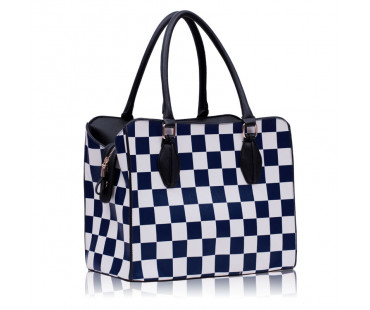 Kabelka Blue Checkered Print Shoulder Bag