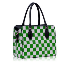 Kabelka Green Checkered Print Shoulder Bag