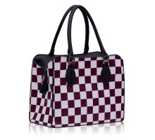 Kabelka Purple Checkered Print Shoulder Bag