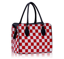 Kabelka Red Checkered Print Shoulder Bag