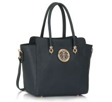 Kabelka Navy Polished Metal Shoulder Handbag