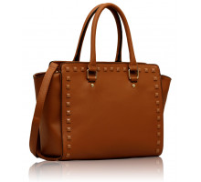 Kabelka Tan Shoulder Handbag With Studs Details
