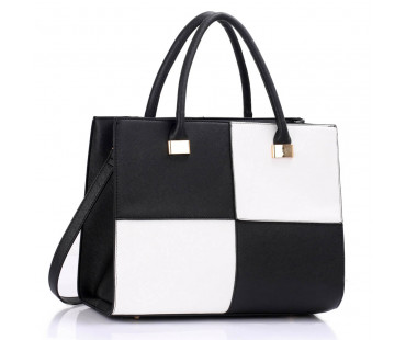 Kabelka L&S Fashion Large Black / White Fashion Tote Handbag