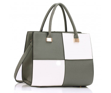 Kabelka Large Grey / White Fashion Tote Handbag