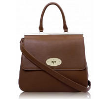 Kabelka Brown Twist-Lock Closure Satchel - hnědá