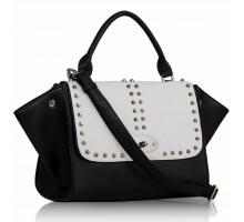 Kabelka Studded Black / White Flap Satchel