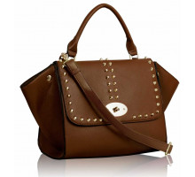 Kabelka Studded Brown Flap Satchel