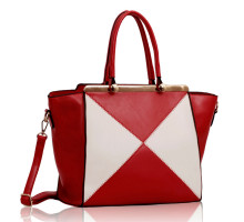 Kabelka Red / White Metal Frame Tote Bag