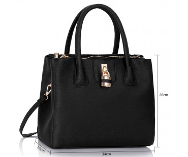Kabelka L&S Fashion Black Three Zipper Grab Bag - černá