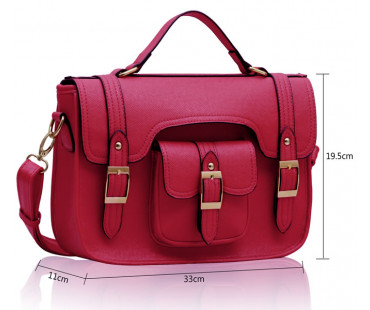 Akovka Pink Classic Buckle Satchel