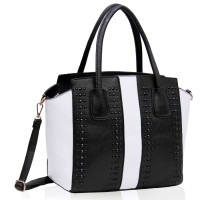 Kabelka Black / White Tote Bag With Studs Detail
