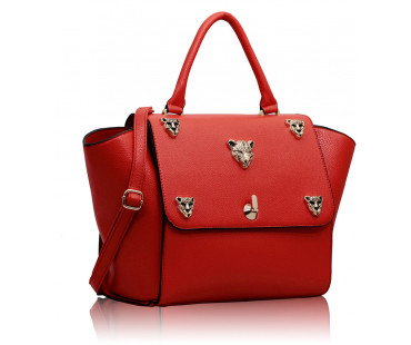 Kabelka Red Leopard Head Rivets Flap Bag