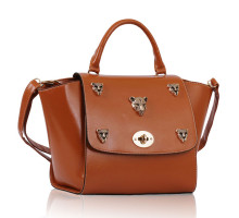 Kabelka Brown Leopard Head Rivets Flap Bag