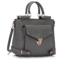 Kabelka Grey Twist Lock Flap Grab Tote