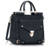 Kabelka Navy Twist Lock Flap Grab Tote