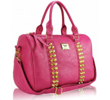Kabelka L.S Fashion Pink Stunning  Studded Barrel Bag With Long Strap