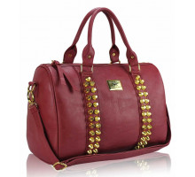 Kabelka L.S Fashion Red Stunning Studded Barrel Bag