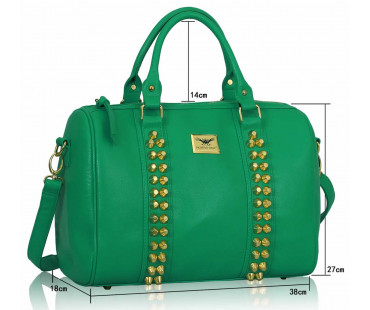 Kabelka Fashion Emerald Stunning  Studded Barrel Bag With Long Strap