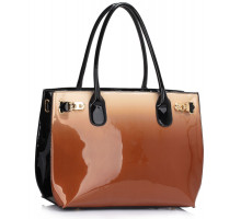 Kabelka Nude Patent Two Tone Handbag With Buckle Detail