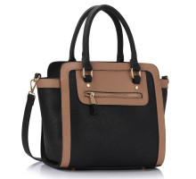 L&S Fashion kabelka Black / Nude Grab Tote Handbag