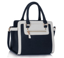 L&S Fashion kabelka Navy / White Grab Tote Handbag - modrá