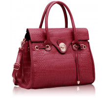 Aktovka Fuchsia Croc Flap Over Twist Lock Satchel