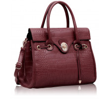 Aktovka Purple Croc Flap Over Twist Lock Satchel