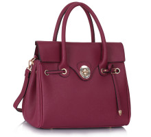 Kabelka - Burgundy Twist Lock Flap Grab Shoulder Bag