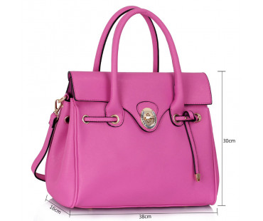 Kabelka - Fuchsia Twist Lock Flap Grab Shoulder Bag