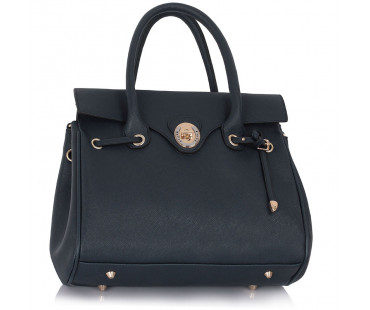 Kabelka - Navy Twist Lock Flap Grab Shoulder Bag