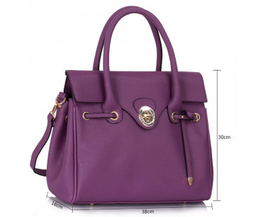 Kabelka - Purple Twist Lock Flap Grab Shoulder Bag