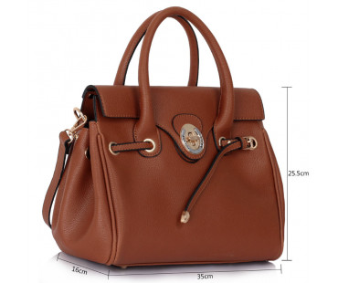 Kabelka - Brown Twist Lock Flap Grab Shoulder Bag