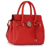 Kabelka Red Twist Lock Flap Grab Shoulder Bag