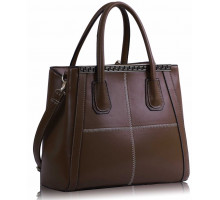 Kabelka Brown Checkered Fashion Tote Handbag
