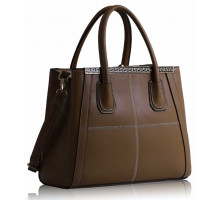 Kabelka Tan Checkered Fashion Tote Handbag - hnědá