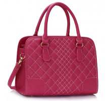 Kabelka Fuchsia Vintage Handbag With White Cross Stitching