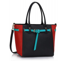 Kabelka Black / Red Tote Handbag Features Buckle Belts