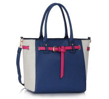 Kabelka Navy / White Tote Handbag Features Buckle Belts