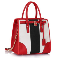 Kabelka Black /White / Red Colour Block Tote Handbag