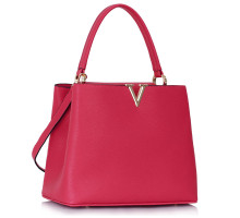 Kabelka Classic Pink Tote With V Shaped Metal