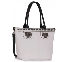 Kabelka White Studded Shoulder Handbag
