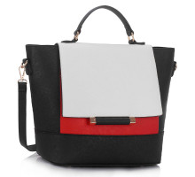 Kabelka Black / White / Red Flap Detail Tote Bag