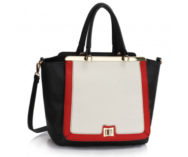 Kabelka Black / White / Red Metal Frame Tote Handbag