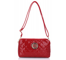 Kabelka Red Quilted Shoulder Bag with Metal Flower Decoration