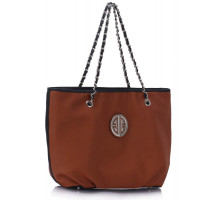 Kabelka Brown Shoulder Bag With Chain Strap - hnědá