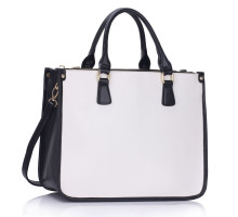 Kabelka 3 top Zip Black/ White Tote Handbag